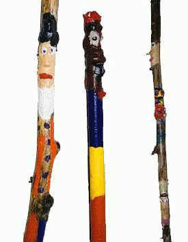 folk art walking sticks